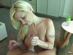 Slutty big naturals milf sucks cum from cock