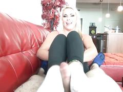 Sockjob by a beautiful blonde