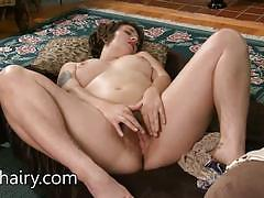 Amateur brunette plays with her hot pussy