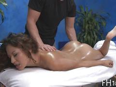 She moans and screams as she gets massage fucked