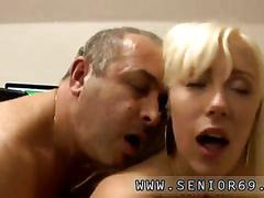 Blonde bitch gets fucked doggy style by the old man