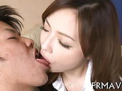 Beautiful japanese honey loves french kissing and deep fucking