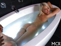 Oiled up blonde surprised with a bbc during her bath