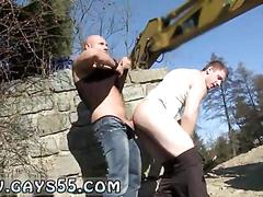 Young stud gets ass fucked on a construction site in public