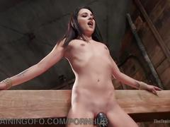 Beautiful brunette slave training
