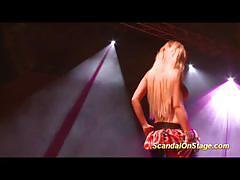 Scandal on stage hot babe dildo fucks her mois...
