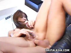 Brutal asia bubble butt stuffed hard