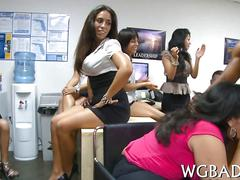 Amateur office ladies surprised with a striptease and giving head