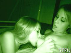 Lesbo teens warm up with a make-out before getting boned