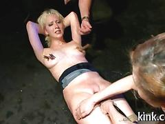 Blonde handled like a bag of meat and fucked in public