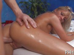 Hot blonde honey gets her ass massaged and pussy fucked