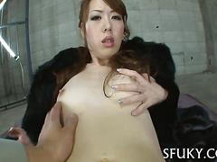 Skinny asian chick loses her fur coat to fuck