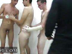 Skinny twinks lined up for a jack off hazing party