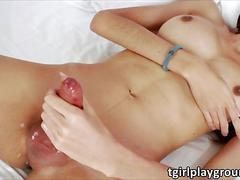Petite asian ladyboy natty wanks her she dick and milks herself