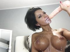 Hot hot anisyia livejasmin blowjob, cumshot on huge tits