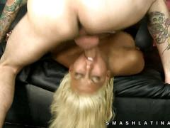 Latina chokes on cock with lots of drool