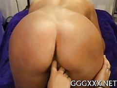 Blonde honey feasts on a trimmed pussy in a dirty gangbang