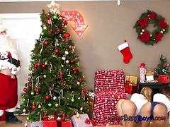 Hot stepmom and daughter tease sneaky santa