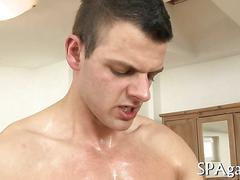 Oiled up guys with delicious muscles fuck during a massage
