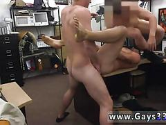 Big hot guy gets tag teamed in a pawn shop