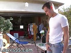 Gorgeous young guy sucked off during a garage sale