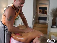 Mature masseur gets a straighty horny for ass fucking