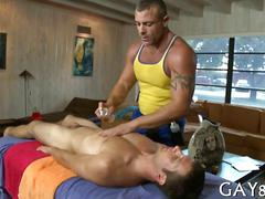 Tattooed masseur gets his ass fucked by a straighty