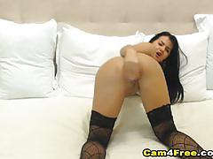 Cam4free luscious brunette dildo fucks her hot...