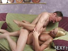 Sexy blonde schoolgirl fucked missionary style by her tutor