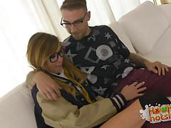 kaylee haze, blowjob, riding, cumshot, facial, glasses, blonde, reverse cowgirl, sucking