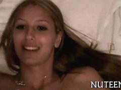 Amateur blonde girlfriend loves taking her mans dick hard and deep