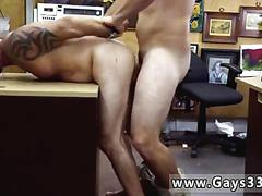 Tattooed biker slides slowly onto his first cock for cash