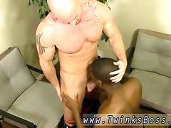 Tattooed baldy gets blown and boned by a black lover