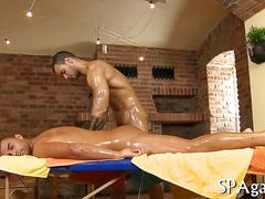 Tattooed stud oiled up to fuck his gorgeous masseur