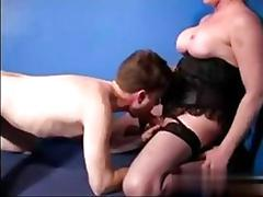 Big tits shemale sucked off by a hungry dude