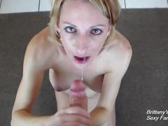 Sloppy pov deepthroat blowjob has brittany lynn gagging on thick cock