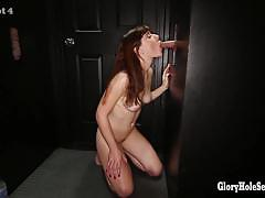 Glory hole secrets randy brunette sucking cock