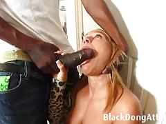 Black dong attack blonde babe gobbles down thi...