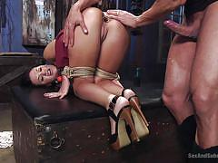 Roxy gets mouth fucked by dominant partner