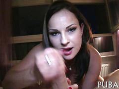 Fake tits brunette rides cock in pov for cash