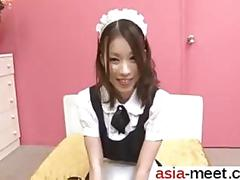 Asian school girl has a fat dick to suck on