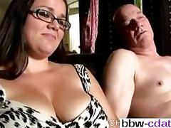 Bbw slut has a hot cock to suck on well