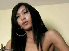 Seductive thai tranny sucks thick cock until facial cumshot