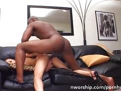 Little brunette girl sucking and fucking a big black cock