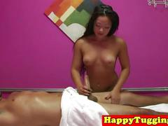 Inked asian handjob massage