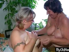 Fat lesbian babe with granny foreplay