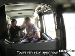 Taxi driver fucks busty brunet milf