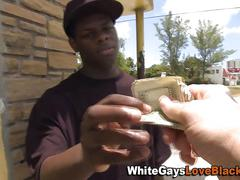 Black guy sucks white rod