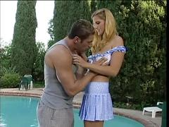 Blond fucked in lawn chair by the pool