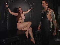 Big tits redhead slave teased in every possible manner by her master